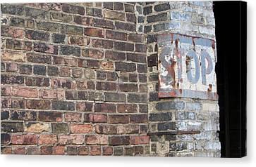 Stop Sign Canvas Print - Brick Wall Stop Close Up by Anita Burgermeister