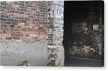 Brick Wall Stop Sign Canvas Print