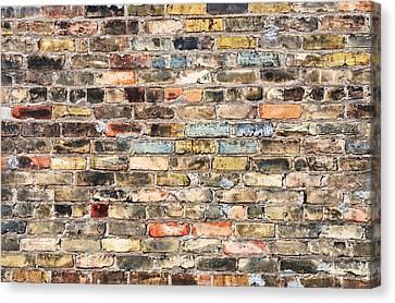 Old Wall Canvas Print - Brick Wall With History by Jim Hughes
