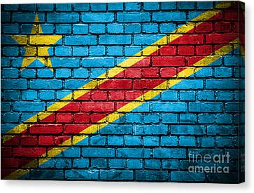 Brick Wall With Painted Flag Of Congo Democratic Republic Canvas Print