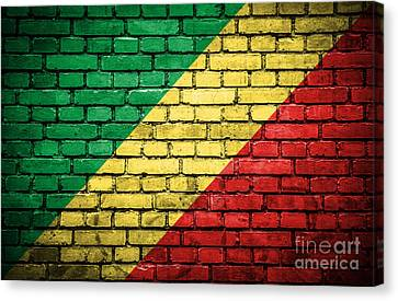 Brick Wall With Painted Flag Of Congo Republic Canvas Print