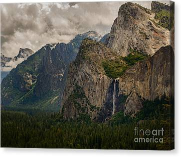Canvas Print - Bridalveil Falls And Yosemite Valley by Terry Garvin
