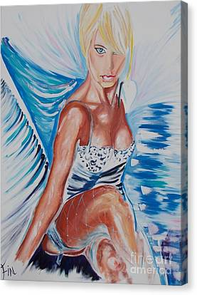 Canvas Print featuring the painting Bride Angel by PainterArtist FIN