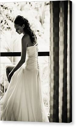 Bride At The Balcony II. Black And White Canvas Print by Jenny Rainbow