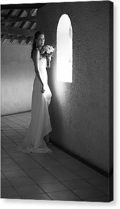 Bride At The Window I. Black And White Canvas Print by Jenny Rainbow