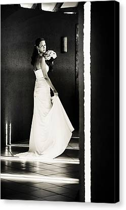 Bride I. Black And White Canvas Print by Jenny Rainbow