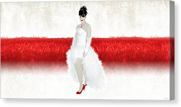 Lady In Red Canvas Print by Ervin Hajdu