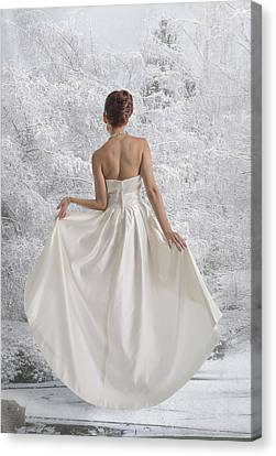 Bride In The Snow Canvas Print by Angela A Stanton