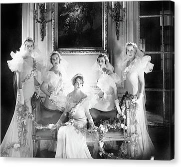Decorative Benches Canvas Print - Bridesmaids For The Wedding Of Sir Hugh Houston by Cecil Beaton