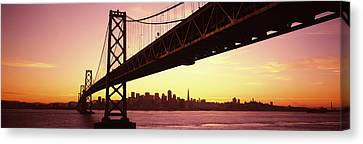 Built Canvas Print - Bridge Across A Bay With City Skyline by Panoramic Images