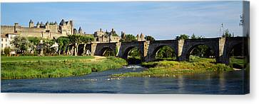 Bridge Across A River, Aude River Canvas Print by Panoramic Images