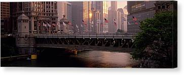 Bridge Across A River, Michigan Avenue Canvas Print by Panoramic Images