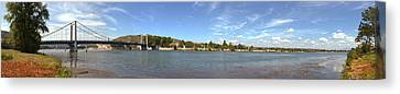 Bridge Across A River, Tain-lhermitage Canvas Print by Panoramic Images