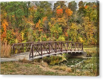 Bridge Amongst Autumn Colors Canvas Print