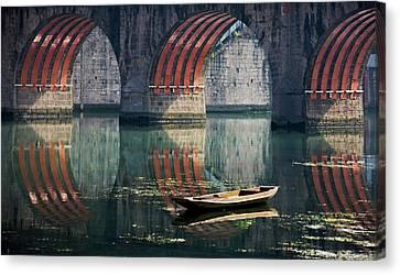 Bridge And Boat On Wuyang River Canvas Print by Keren Su