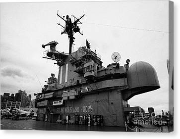 Bridge And Flight Deck Island On The Uss Intrepid At The Intrepid Sea Air Space Museum Canvas Print by Joe Fox