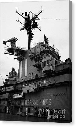 Bridge And Flight Deck Island On The Uss Intrepid At The Intrepid Sea Air Space Museum New York Canvas Print by Joe Fox