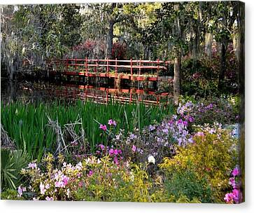 Bridge And Floral Canvas Print by Jeff  Bjune