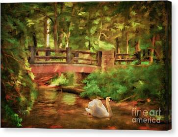 Bridge And Swan Canvas Print by Lois Bryan