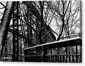 Bridge At Snowfall Canvas Print