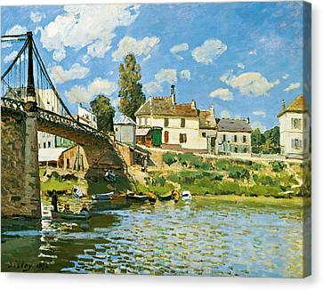 Bridge At Villeneuve-la-garenne Canvas Print by Alfred Sisley