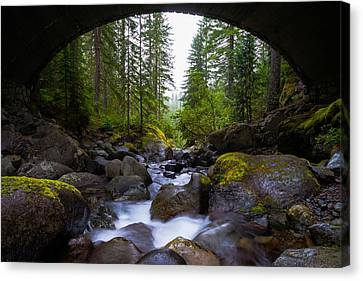 Bridge Below Rainier Canvas Print by Chad Dutson