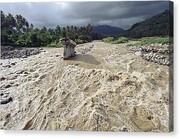 Bridge Destroyed By Flooding, Indonesia Canvas Print by Science Photo Library