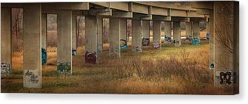 Canvas Print featuring the photograph Bridge Graffiti by Patti Deters