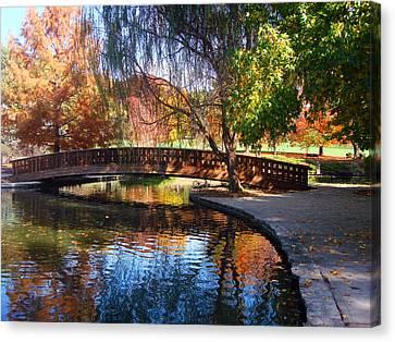 Bridge In Autumn Canvas Print by Ellen Tully