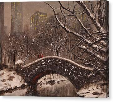 Winter Scene Canvas Print - Bridge In Central Park by Tom Shropshire