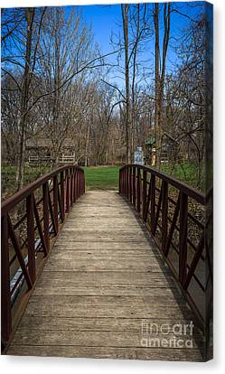 Bridge In Deep River County Park Northwest Indiana Canvas Print by Paul Velgos