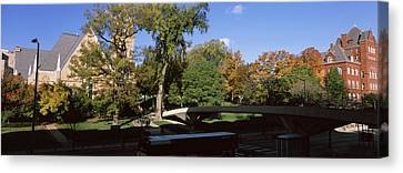 Bridge In Front Of A University, Music Canvas Print by Panoramic Images