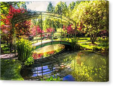 Dogwood Lake Canvas Print - Bridge In The Garden by Debra and Dave Vanderlaan