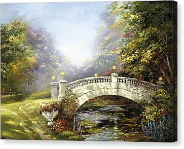 Bridge In The Park Canvas Print by Dmitry Spiros