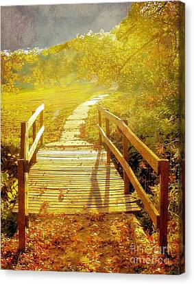 Bridge Into Autumn Canvas Print by Janette Boyd