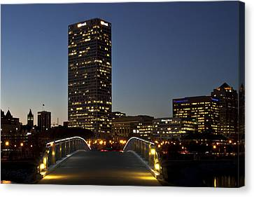 Canvas Print featuring the photograph Bridge Into Milwaukee by Deborah Klubertanz