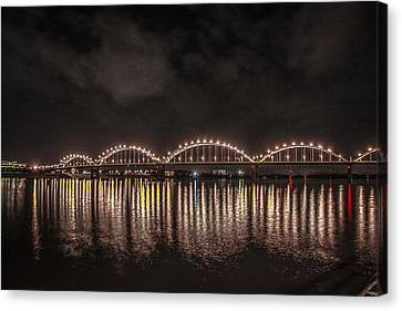Canvas Print featuring the photograph Bridge Lights by Ray Congrove