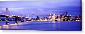 Built Canvas Print - Bridge Lit Up At Dusk, Bay Bridge, San by Panoramic Images