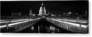 Bridge Lit Up At Night, London Canvas Print by Panoramic Images