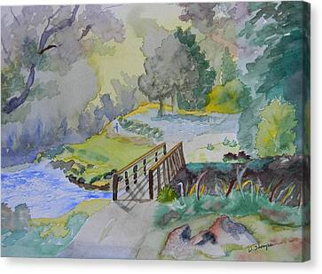 Bridge Near Enniskerry Ireland  Canvas Print by Warren Thompson