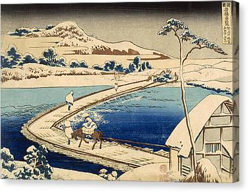 Bridge Of Boats At Sawa Canvas Print by Hokusai Katasushika
