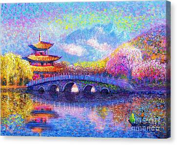 Impressionist Landscape Canvas Print - Bridge Of Dreams by Jane Small