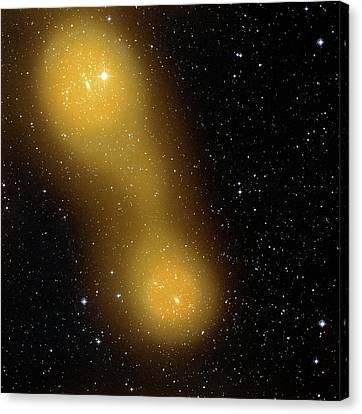Bridge Of Gas Connecting Galaxies Canvas Print by Esa Planck Collaboration/stsci Digitized Sky Survey