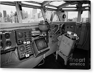 Bridge Of The Uss Intrepid Looking Out At Manhattan New York City Canvas Print by Joe Fox