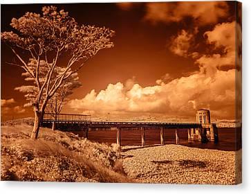 Bridge On The Lake Canvas Print by Roy Cruz