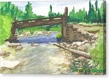 Bridge On The Red Cloud Loop Canvas Print by Sherril Porter