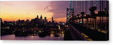 Bridge Over A River, Benjamin Franklin Canvas Print by Panoramic Images