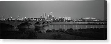 Bridge Over A River With Skyscrapers Canvas Print