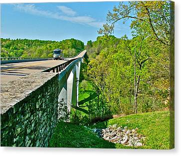 Bridge Over Birdsong Hollow At Mile 438 Of Natchez Trace Parkway-tennessee Canvas Print by Ruth Hager