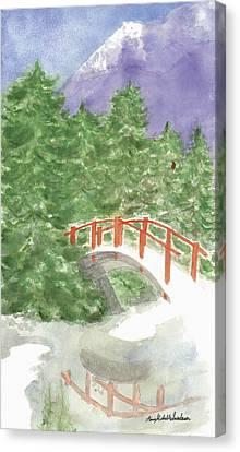 Bridge Over Frozen Water Canvas Print by Ann Michelle Swadener